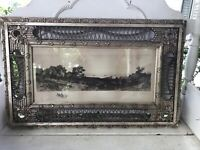Rare Victorian Antique Wicker Rattan Gesso Frame G.W. Bohde Signed Engraving 34""