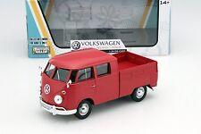 Motor Max Volkswagen Type 2 T1 Doble Cabina Camioneta Pickup Rojo 1/24 Modelo