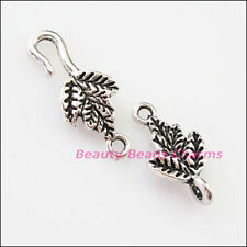 8Sets Tibetan Silver Leaf Bracelet Toggle Clasps Connectors 9.5x37mm