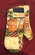 New listing New! Home Collection Oven Mitt Olive Oil Print 'Chili Red' Quilted back