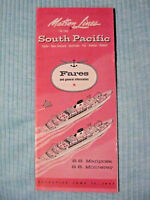 Matson Lines To The South Pacific - SS Mariposa - SS Monterey - Fares - 6/15/57