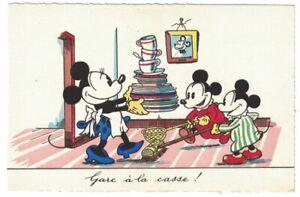 Minnie & Mickey Mouse Nephews Do Dishes Postcard Sepheriades Paris France 1930s