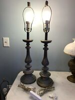 Pair of 2 matching cast resin bronze copper patina finish table lamps Classic