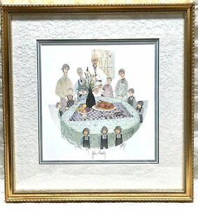 RARE Beautifully Framed P Buckley Moss GIVE THANKS 1993 Signed Print