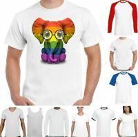 LGBT T-Shirt Elephant Gay Pride Rainbow Colours Tee Outfit Clothing Lesbian Top