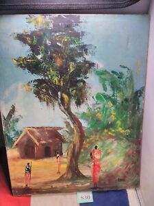 Vintage African Painting On Canvas