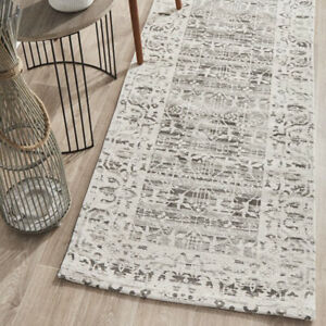 MOSELLE IVORY SILVER BOHEMIAN TRADITIONAL MODERN RUG RUNNER - 3 Sizes **NEW**