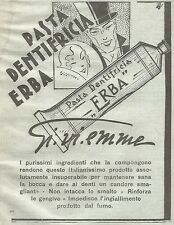 W7386 Pasta dentifricia ERBA Gi.vi.emme - Pubblicità del 1932 - Old advertising