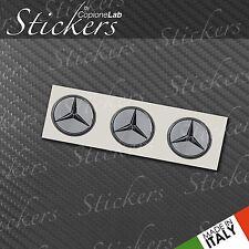 3 Adesivi Stickers MERCEDES silver 15 mm 3D resinati telecomando chiavi