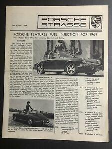 "1968 Porsche Strasse ""Fuel Injection for '69"" 10-11 1968 Newsletter Folder RARE"