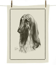"Mike Sibley Afghan Hound dog breed 100% cotton tea towel  67cm x47cm  26½""x 18½"""