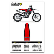 2009-2013 HUSQVARNA TE TC TXC  Black/Red PLEATED SEAT COVER by Enjoy MFG