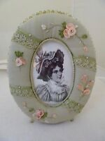 """SAGE GREEN/PINK FABRIC OVAL PICTURE FRAME-BEADED """"FEET""""-RIBBON ROSES-VICTORIAN"""