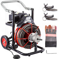 """Sewer Machine Drain Cleaner 100ft 1/2"""" 550W Sewer Cleaning Clog w/ Cutters"""