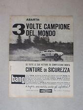 ADVERTISING PUBBLICITA' BANG E  ABARTH 3 VOLTE CAMPIONE DEL MONDO --  1963