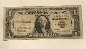 1935A $1 DOLLAR WWII HAWAII SILVER CERTIFICATE BROWN SEAL NOTE OLD PAPER MONEY