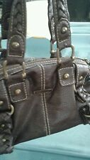 Marc Ecko Red Brown Vegan Faux Cobblestone Leather Handbag Purse Bag Tote