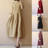 Summer Women Casual Short Sleeve Loose Party Kaftan Tunic Long Maxi Dress