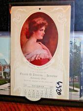 #6320,TWO Frank B Downs Jeweler 1909 Calendar PC Ashland,Ohio