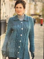 KNITTING PATTERN Ladies Diamond Cable Coat Collared Cardigan Chunky Stylecraft