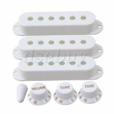 White Guitar Parts Set Switch tip Single coil Pickup Cover 1 volume 2 Tone Knobs