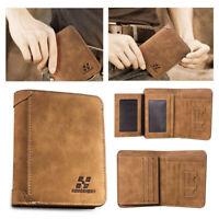Mens Leather Wallet Pocket ID Card Holder Billfold Slim Clutch Bifold Purse UK