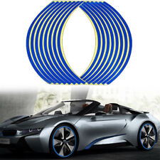 16 Strips Blue Reflective Sticker Car Motorcycle Wheel Hub Tire Rims Sticker
