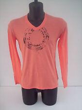 Roberto Cavalli t- shirt  arancio  con serpente nero scollo  a  v  TG48