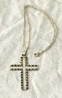 "Vtg Large solid STERLING SILVER Swirl CROSS PENDANT 925 NECKLACE 18 in "" chunky"