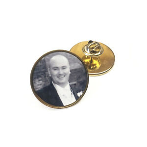 Personalised Tie Pin - Gold Round Photo Brooch Badge, Memorial Gift Wedding