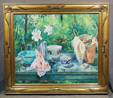 Martha Walter American Signed Oil Painting  Still Life Table With Picnic