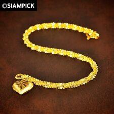 22K 24K THAI Gold GP Twist Chain Bracelet Dangle Heart Charm Women Jewelry Gift