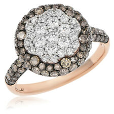 14K Rose Gold Pave Diamond Brown Champagne Right Hand Circle Round Cocktail Ring