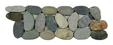 "Sliced Bali Ocean Pebble Tile Border 4"" x 12"" - River Rock Stone Tile"
