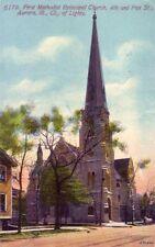 FIRST METHODIST EPISCOPAL CHURCH 4TH & FOX STS AURORA, IL CITY OF LIGHTS 1912