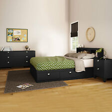 4 Piece Black Full Size 4 Storage Drawers Platform Bed Set Bookcase Dresser