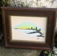 Antique Signed Miniature Oil Painting Winter Landscape Wood Frame