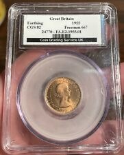 More details for 1955 queen elizabeth farthing f667 lcgs 82 bu/unc ms64/65 1 of a few graded