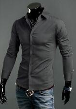 Luxury Shirts Mens Casual Formal Slim Fit Shirt Top S M L XL XXL Ps01 Dark Grey Tag Sizes(us Xxs)