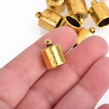 10 Gold End Caps for Tassel Leather Cord End Connector Bail Fits 10mm fin0756