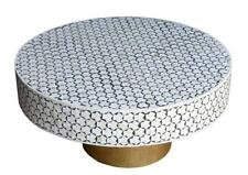 Wooden bone inlay handmade navy blue round coffee table and center table