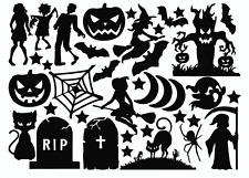 Die Cut Outs Silhouette Halloween 24 shape toppers Free stars, Scrapbooks fairy