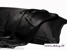 100%SILK-PILLOW CASE 1XThick-Premium Grade-Luxurious 22m*Black*Twin Piped seamBR
