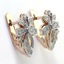 Russian Style 14k Rose and White Gold Diamond Fleur de Lis Earrings. #E1117