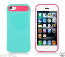 Apple iPhone 5 Hybrid Back Cover Skin Case Pastel Silicone Green Hot Pink
