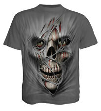 Spiral Direct STITCHED UP T-Shirt Charcoal Rips/Skulls/Undead/Rock/Biker/Gothic