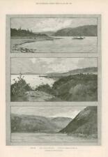 1890-antica stampa Canada Newfoundland Lepre Bay HUMBER Suono St Georges (252)