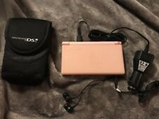 Nintendo DS Lite Pink Handheld System Car Charger Ear Buds And Case.