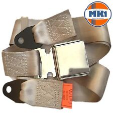 Classic Car Seat 2 Point Lap Seat Belt Front Rear Chrome Buckle Beige Webbing