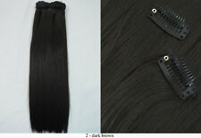"""Recurlable Human Hair Mix Blend CLIP ON IN Extensions 10 pc - Yaki Straight 14"""""""